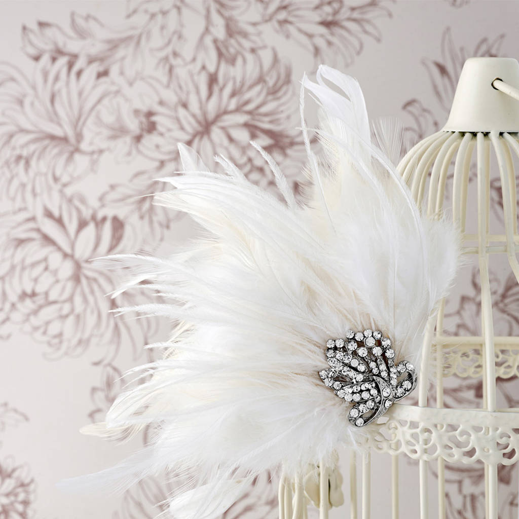 Bridal Feather Hair Clip With Czech Crystals