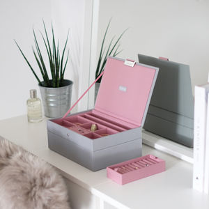 Dove Grey With Rose Classic Jewellery Box - boxes, trunks & crates