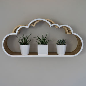Wooden Cloud Shelf Unit - laundry room