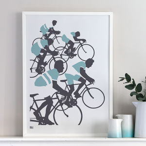 'The Cyclist' Illustrated Art Print In Coastal Blue - modern & abstract