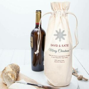 Personalised Christmas Snowflake Wine Bottle Bag