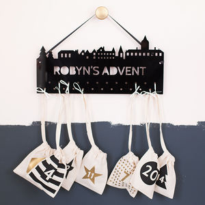 Personalised Christmas Skyline Advent Calendar Hanger