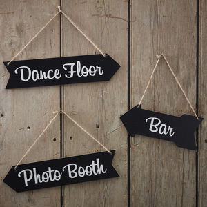 Vintage Chalkboard Wooden Arrow Wedding Signs - chair decoration