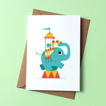 Elephant Ice Cream Greetings Card