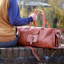 Personalised Large Brown Leather Holdall
