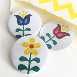 Scandinavian Flowers Badge Set - pins & brooches