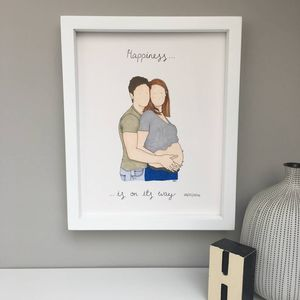 Personalised Pregnancy Couple Portrait Illustration - drawings & illustrations