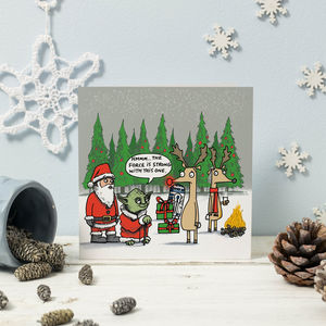 Yoda And Rudolph Star Wars Christmas Card