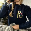 Embroidered Metallic Initial Christmas Jumper