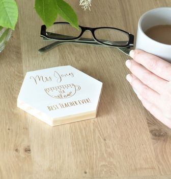 Thank You Teacher Personalised Hexagonal Coaster