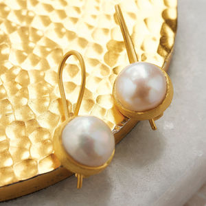 Cupcake Larger Drop Earrings In Gold Plate - jewellery for women