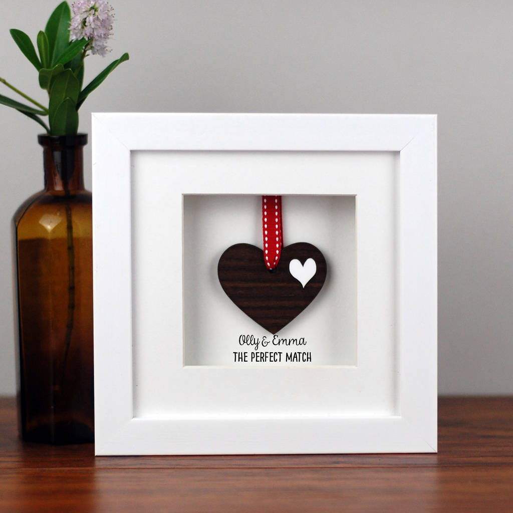 personalised double walnut wooden heart frame by afewhometruths ...