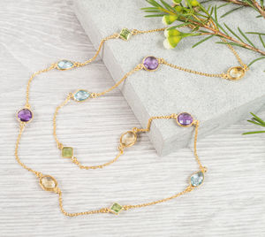 Multi Gemstone And 18ct Gold Vermeil Necklace