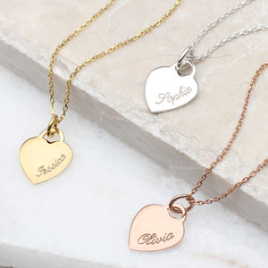 18ct Gold Or Sterling Silver Heart Charm Name Necklace