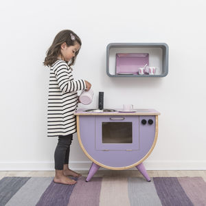 Lilac And Pink Vintage Wooden Play Kitchen - play scenes & sets