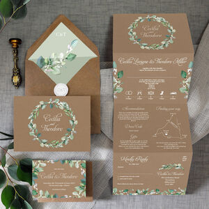 Greenery Wreath Concertina Wedding Invitation