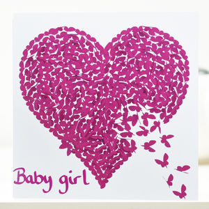 Baby Girl Butterfly Heart Card, Pink Baby Girl Card