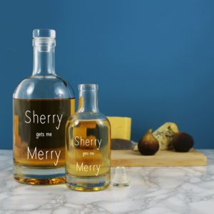'Sherry Gets Me Merry' Festive Etched Decanter