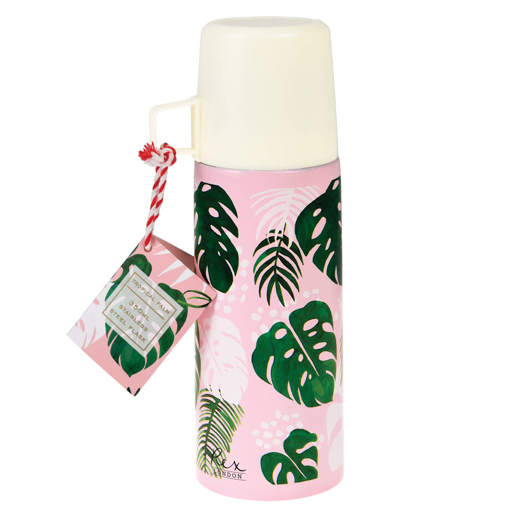 Botanical Palm Leaf Flask And Cup