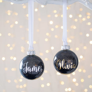 Personalised Black Metallic Glitter Bauble - view all decorations