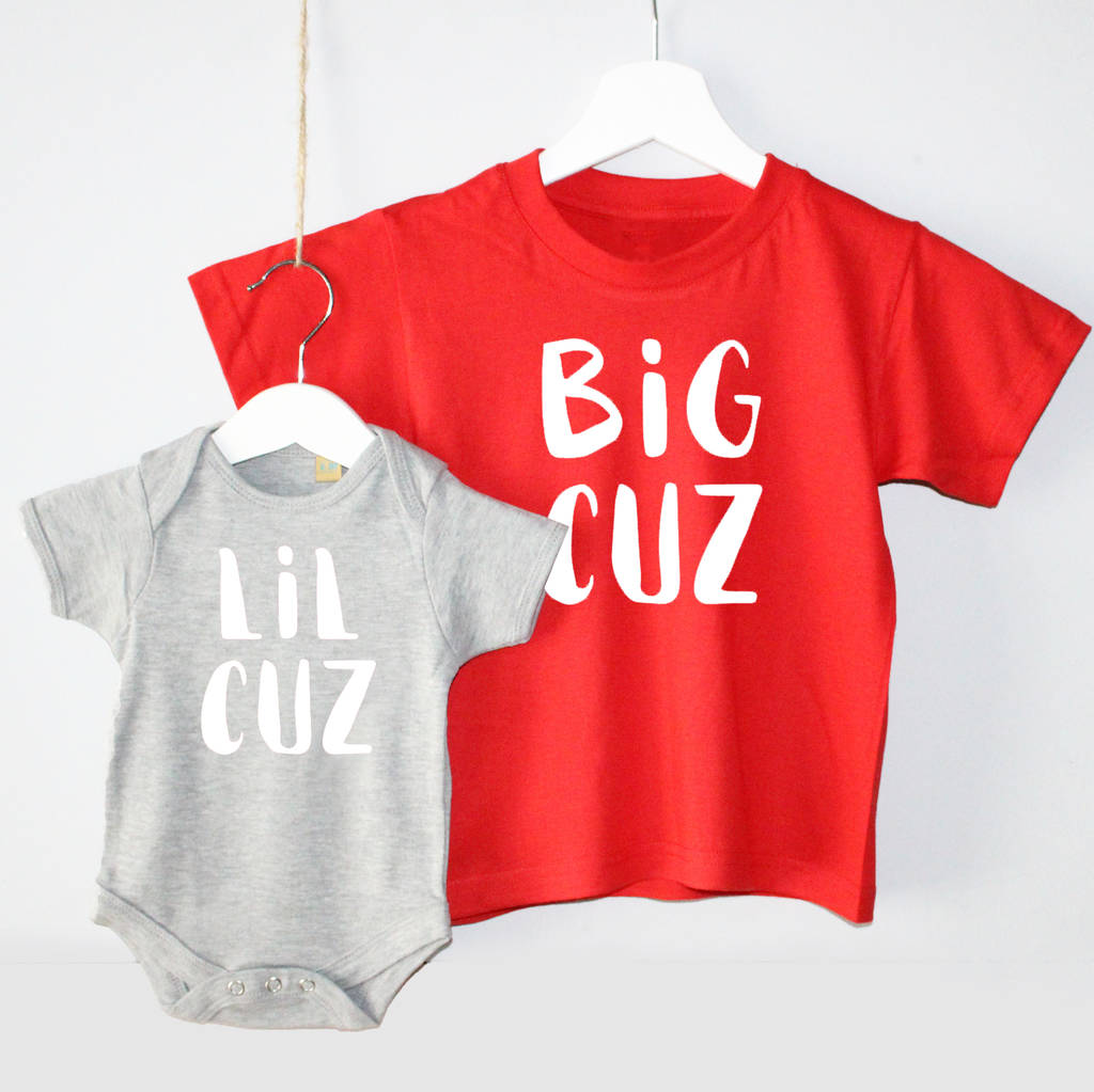 'Big Cuz' 'Lil Cuz' Cousin T Shirt Set