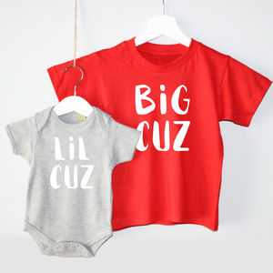 'Big Cuz' 'Lil Cuz' Cousin T Shirt Set - clothing
