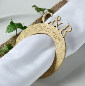 personalised monogrammed wedding napkin rings by bespoke oak co notonthehighstreetcom - Wedding Napkin Rings