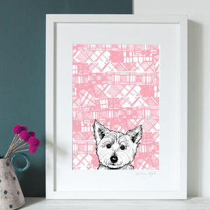 'Tartan Westie' Illustrated Scottish Art Print - animals & wildlife
