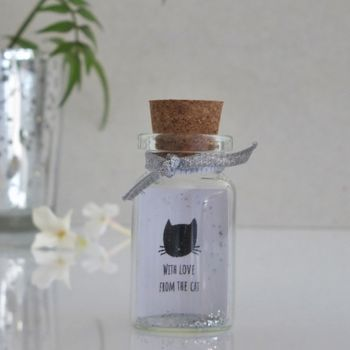 From The Cat Personalised Mini Message Bottle