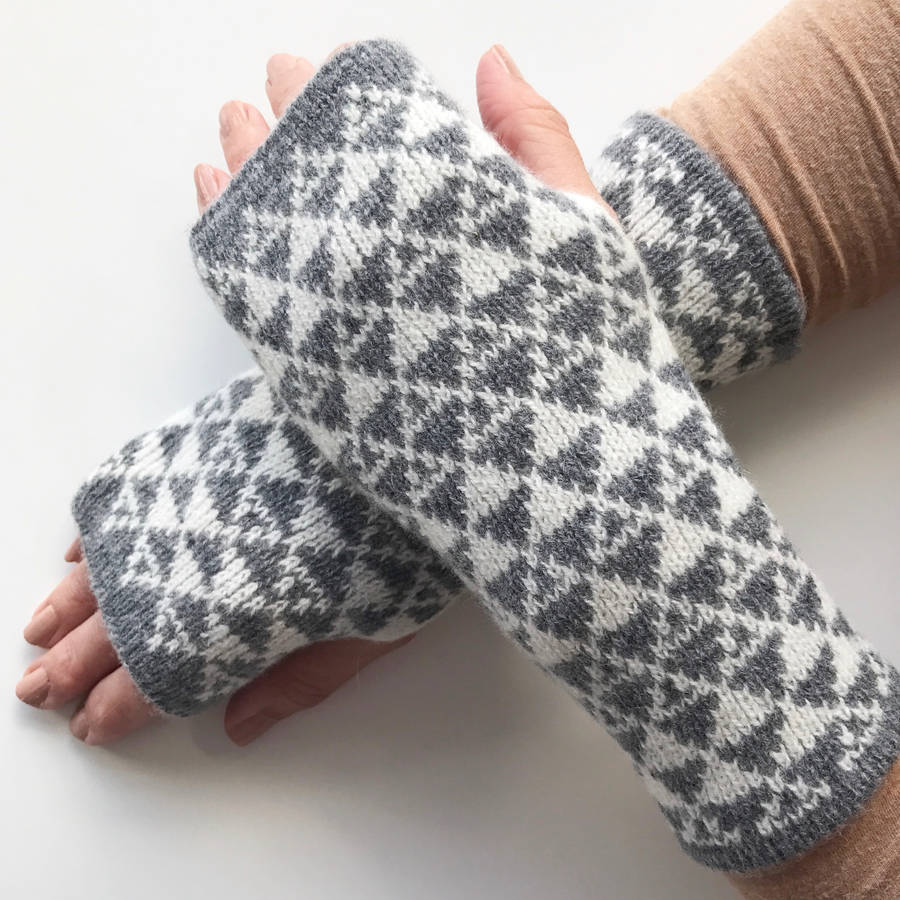 ladies knitted wrist warmers triangles pattern by little knitted ...