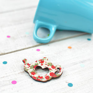 Floral Teapot Brooch - pins & brooches