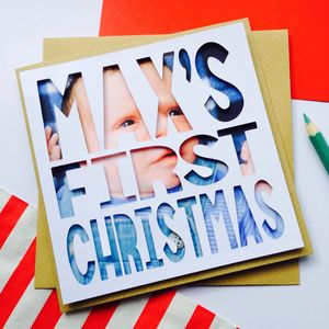 Personalised Name Photograph 'First Christmas' Card