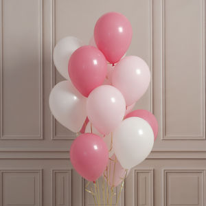 Pack Of 14 Baby Pink Party Balloons - announcement and gender reveal ideas