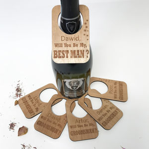 Personalised Will You Be My Best Man Bottle Label - glass charms