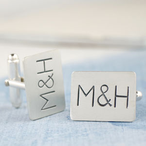 Personalised Silver Cufflinks - Monogram - cufflinks