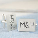 Thumb personalised silver stamped cufflinks