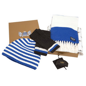 Luxury Cashmere Football Sets In Royal Blue And White - hats