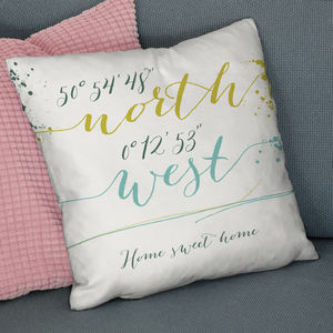 Personalised Script Style Coordinates Location Cushion - best wedding gifts