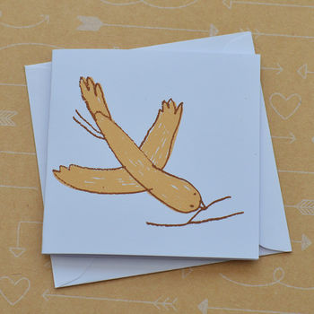 Bird And Twig Tiny Hand Screenprinted Card
