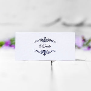 Personalised Wedding Name Cards Classic Swirl