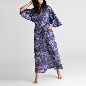 Long Kimono In Purple Flowerburst
