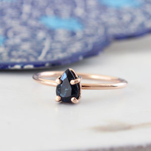 Agathe 9ct Rose Gold Blue Sapphire Boho Ring - rings