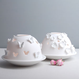 Butterfly Or Flower Porcelain Tea Light Holder