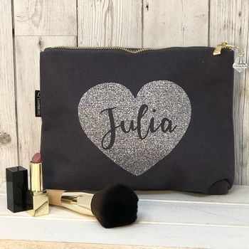 Personalised Name In A Heart Make Up Bag