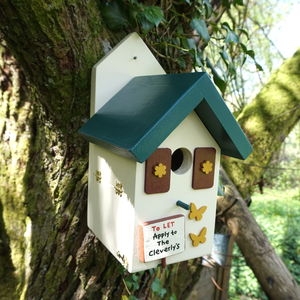 Personalised Handmade Forest Lodge Bird House - birds & wildlife