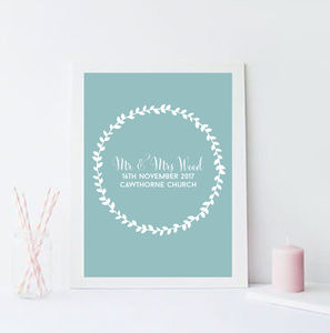 Personalised Wedding Wreath Print