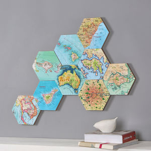 Map Location Hexagon Collectible Wall Art - mixed media & collage
