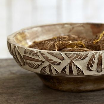 Natural Antique White Wooden Bowl