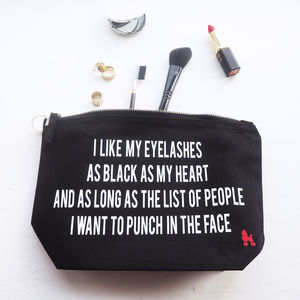 Black Eyelashes Black Heart Make Up Bag - make-up & wash bags
