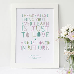 'To Love And Be Loved In Return' Personalised Print